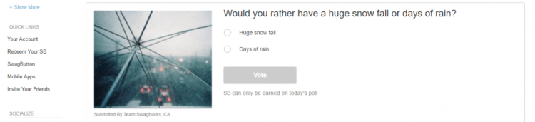 Swagbucks daily poll
