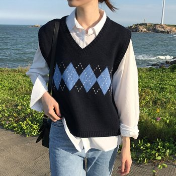 Winter Vest Sweaters for Women Geometric Argyle Sleeves Pullover Oversized Casual Knitted Clothes Female Vintage Ropa Mujer 2020