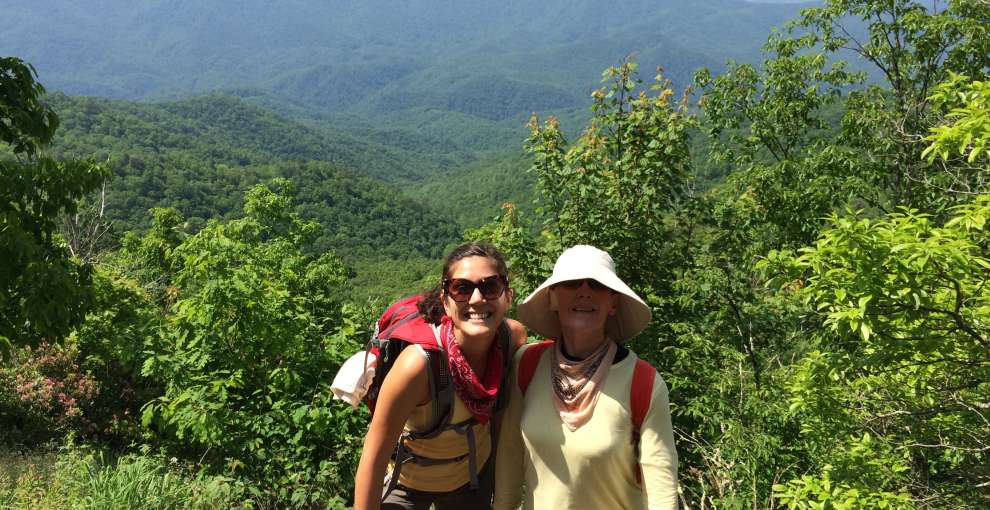 """May 2014, Lili'a and mom hiking Shuckstack Fire Tower Trail in North Carolina. Mom is in her """"keep-covered"""" gear."""