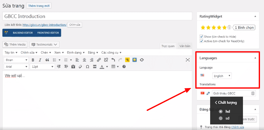 Hướng dẫn chỉnh sửa nhanh nội dung nhiều ngôn ngữ cho website