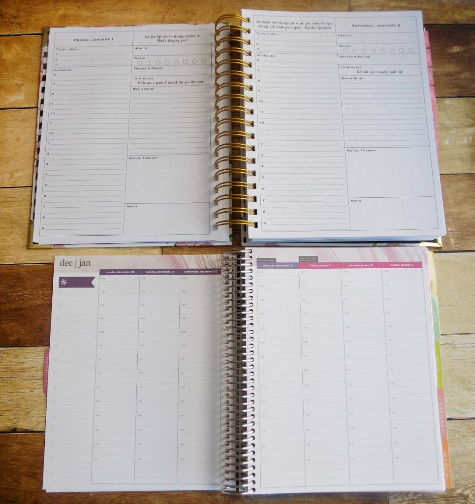 The Purposeful Planner and Life Planner's daily layouts