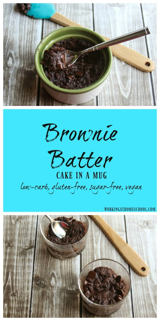 "Brownie Batter Cake in a Mug - this is a healthy take on gooey brownie batter! THM ""S"""