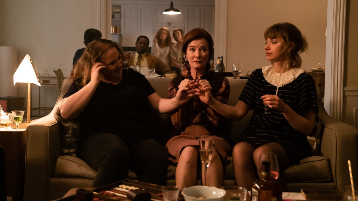 Danielle Macdonald, Valerie Mahaffey, and Imogen Poots star in French Exit.