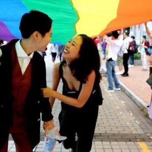 Lala, right, at a recent Hong Kong Pride