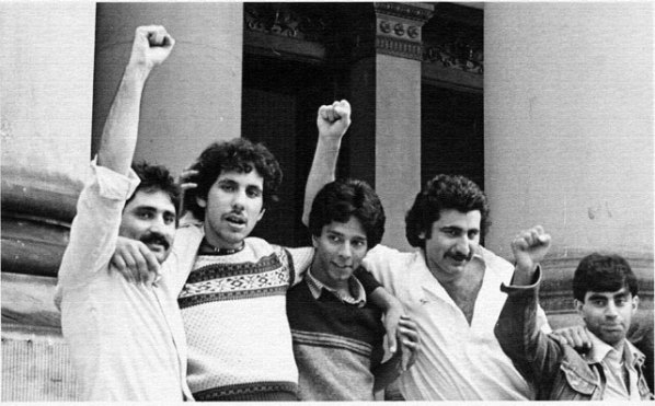 Bradford 12 defendants celebrate victory. L-R: Tariq Mehmood, Giovani Sigh (deceased), Vasant Pate (deceased), Saeed Hussain (Deceased), Brahm Khan