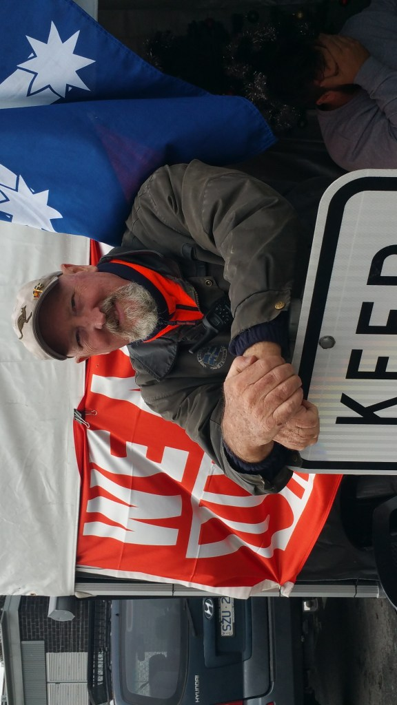 Dave Kerin on a Maritime Union of Australia picket line, 2017. Courtesy Dave Kerin.