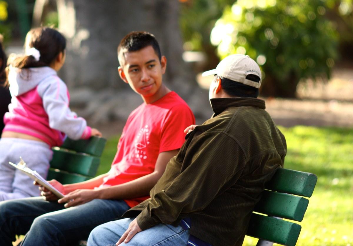 Surveyor on bench