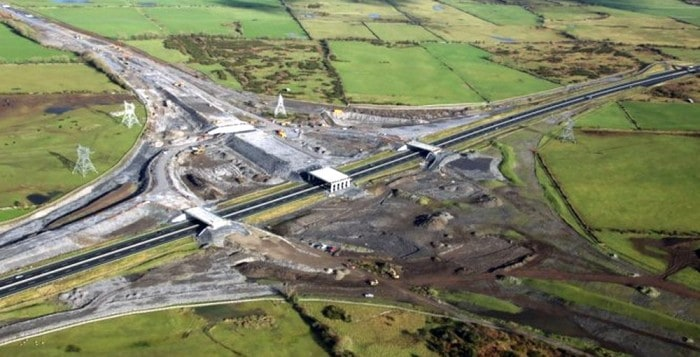 The Rathmorrissey Interchange under construction ... where the M17/M18 Gort-Tuam Motorway will meet the M6 Galway-Dublin Motorway ( Connaugh Tribune)
