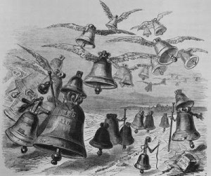 Flying Bells containing Easter Eggs