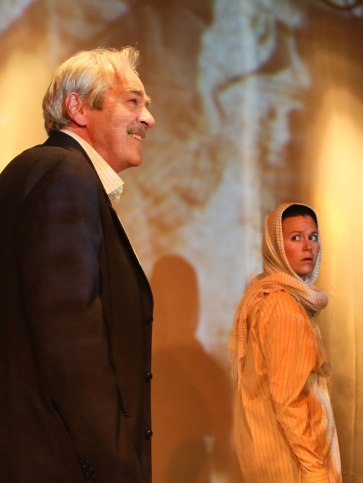 """""""Ghosts in Baghdad"""" at Little Mountain Theatre, 2014. Alec Willows and Gili Roskies. Photo by Tim Matheson."""