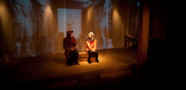 """""""Ghosts in Baghdad"""" at Little Mountain Theatre, 2014. Sarah May Redmond and Gili Roskies. Photo by Tim Matheson."""