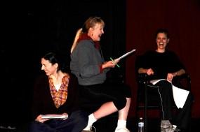 Cara Mantella, Lorilyn Harper, Shayne Kohout in an EWL rehearsal for Henry W. Kimmel's DIVIDED AMONG THEMSELVES.