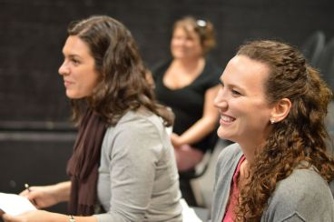 Nicole Palmietto, Neeley Gossett (background) and Annie Harrison Elliot rehearse for Elliots' EMPTY ROOMS