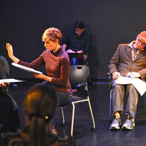 Rachel Garner, Bobby Lambartino and Brian Kurlander in an EWL rehearsal of Patricia Henritze's THE NIGHTINGALE ROSE OR THE BITCH OF BALACLAVA