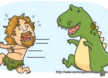 A cave man running away from a chasing dinosaur