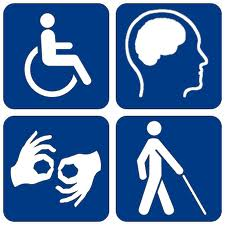 4 pictograms of those with disabilities, a wheelchair user, brain injury and strokes, signing for the hard of hearing and blindness