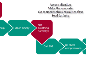 A flow chart of what to do in a medical emergency - the steps to take