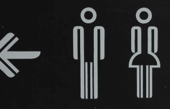 Sign on toilets for men and wormen