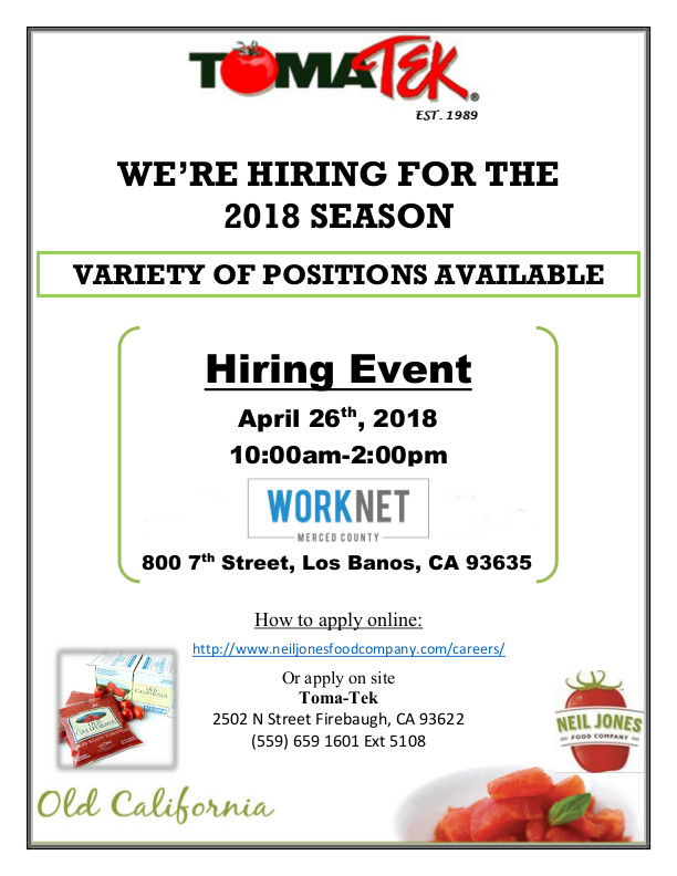 April 26, 2018  TomaTek Job Fair