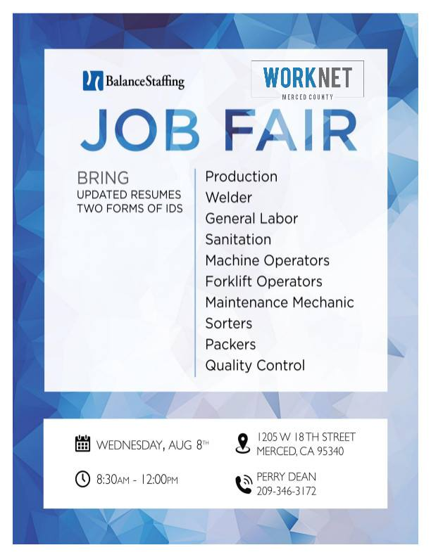 Wednesday, August 8, 2018 Balance Staffing Hiring Event