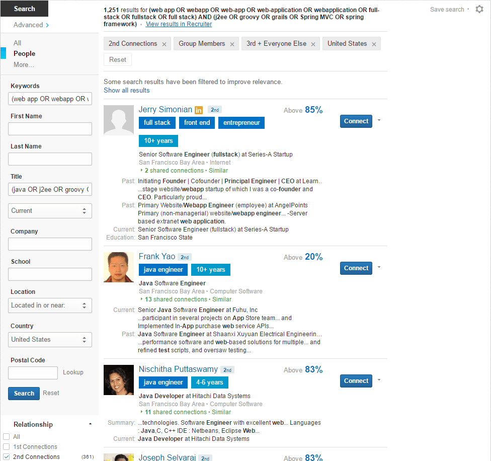Augmented LinkedIn Boolean Search Results