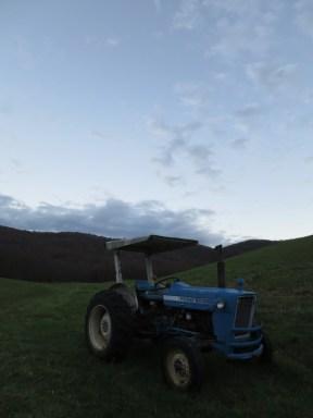Vieux tracteur dans son champ