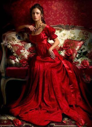 courtesan red dress