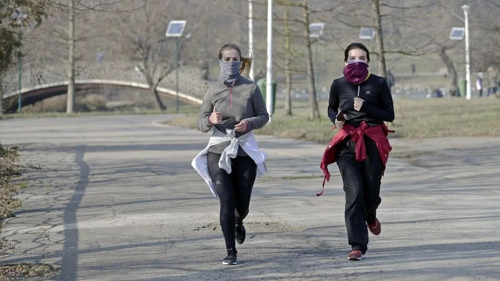 Women running in cold weather