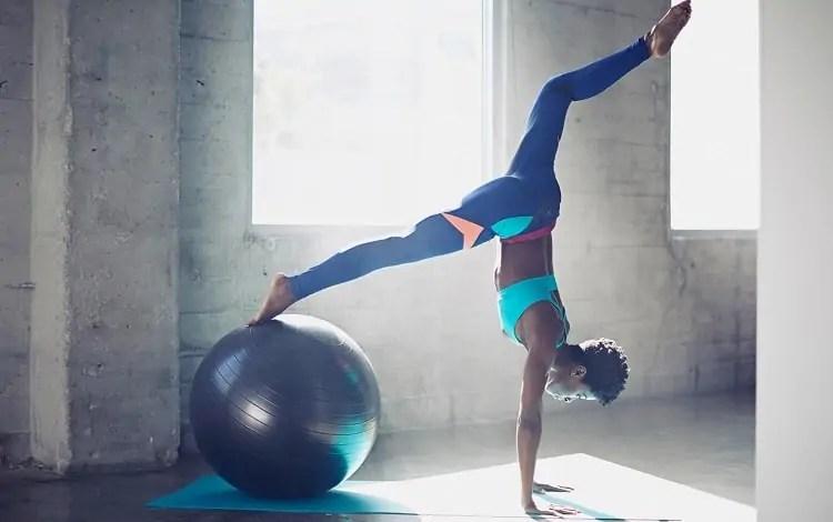 upside down with yoga ball