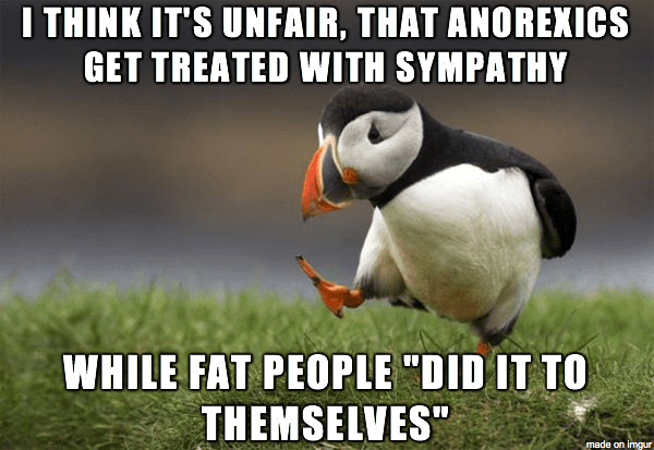 I think it's unfair, that anorexics get treated with sympathy while fat people did it to themselves