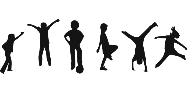 children's silhouette playing and exercising