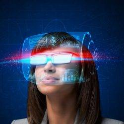 A woman in a pair of smart glasses