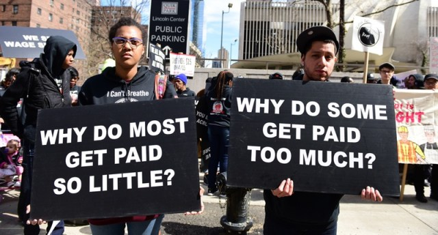 Wage protestors