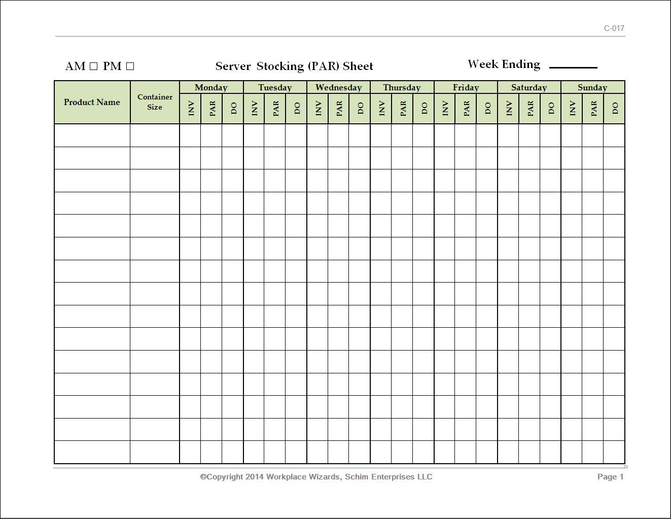 Restaurant Server Stocking Par Sheet