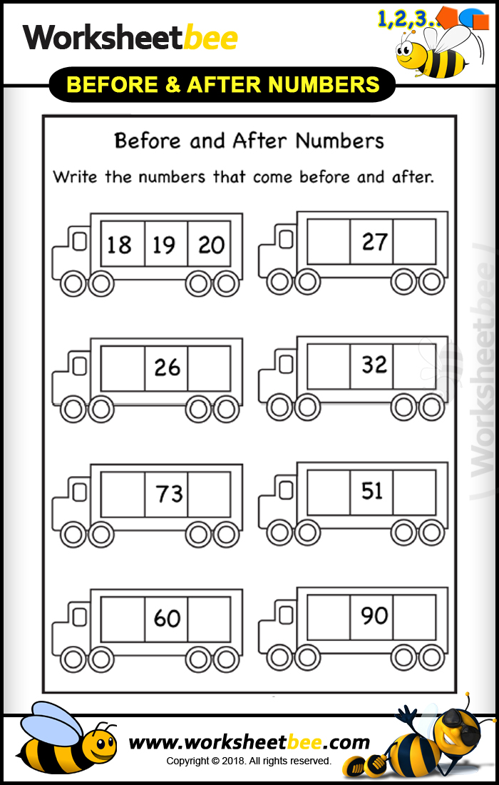 Printibales Worksheet for Kids Before and After Numbers 7 ...