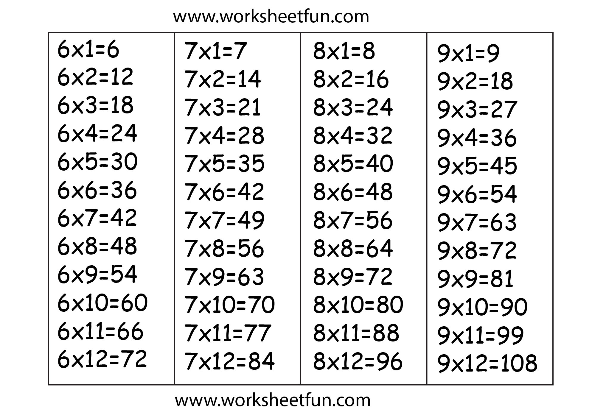 Times Table Chart 6 7 8 Amp 9 Free Printable Worksheets Worksheetfun