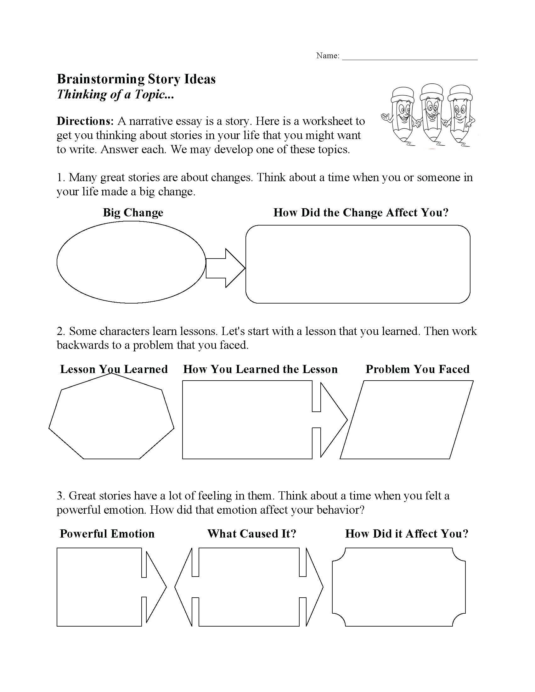 Brainstorming Story Ideas Worksheet