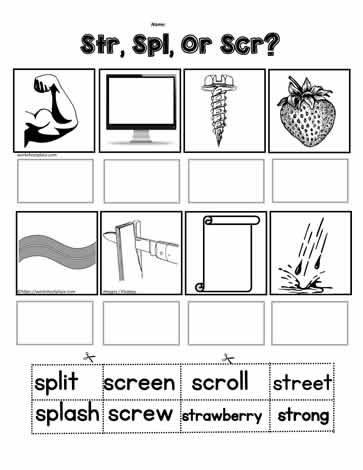 Cut N Paste For 3 Letter Blends Worksheets
