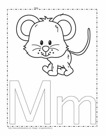 The Letter M Coloring Page Worksheets