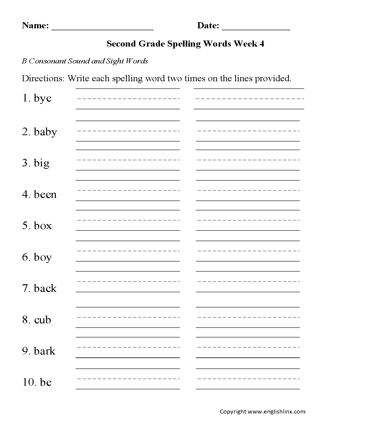 Week 4 B Consonant Second Grade Spelling Worksheets On