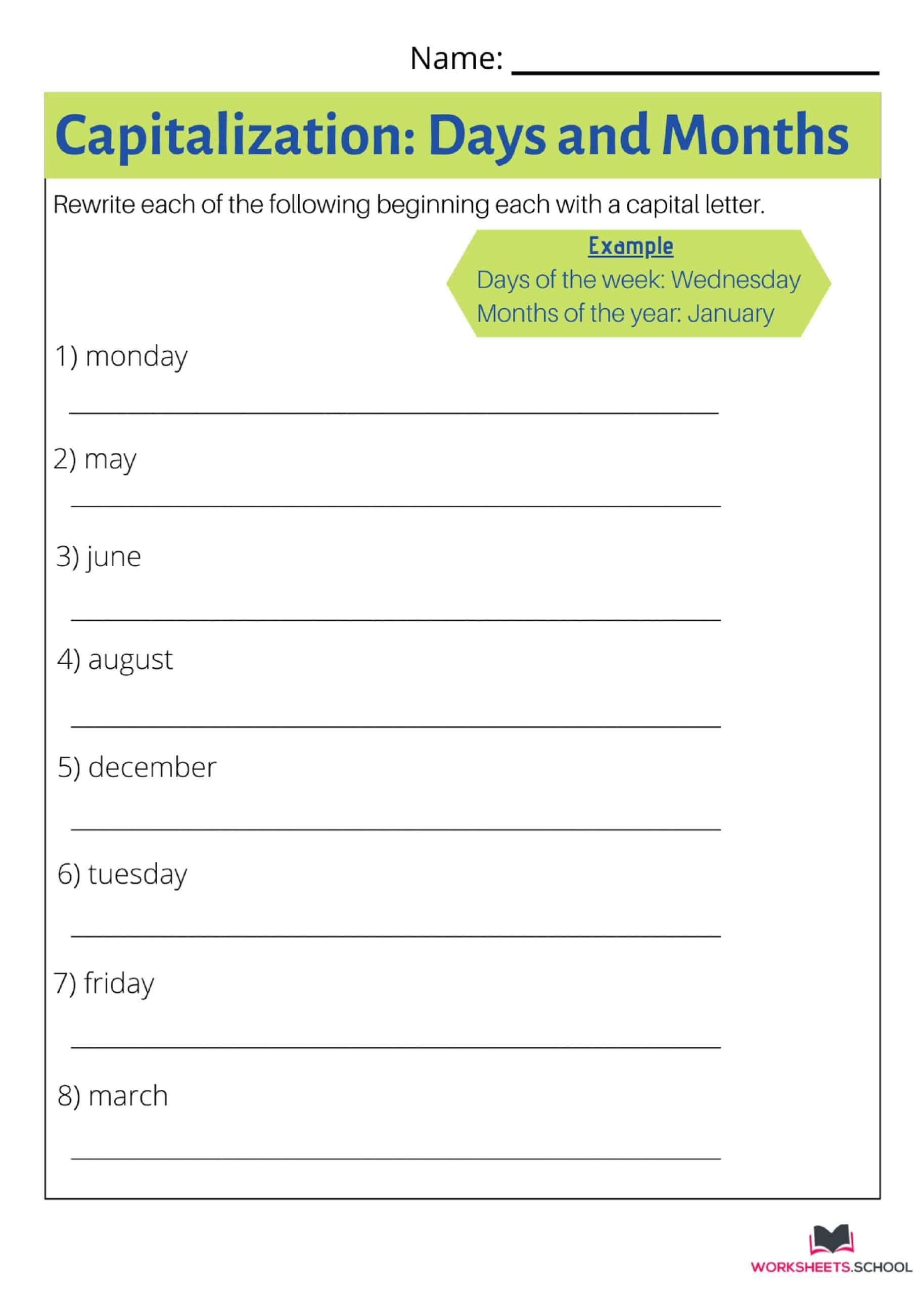 10 Awesome Capitalization Worksheets Worksheets Hool
