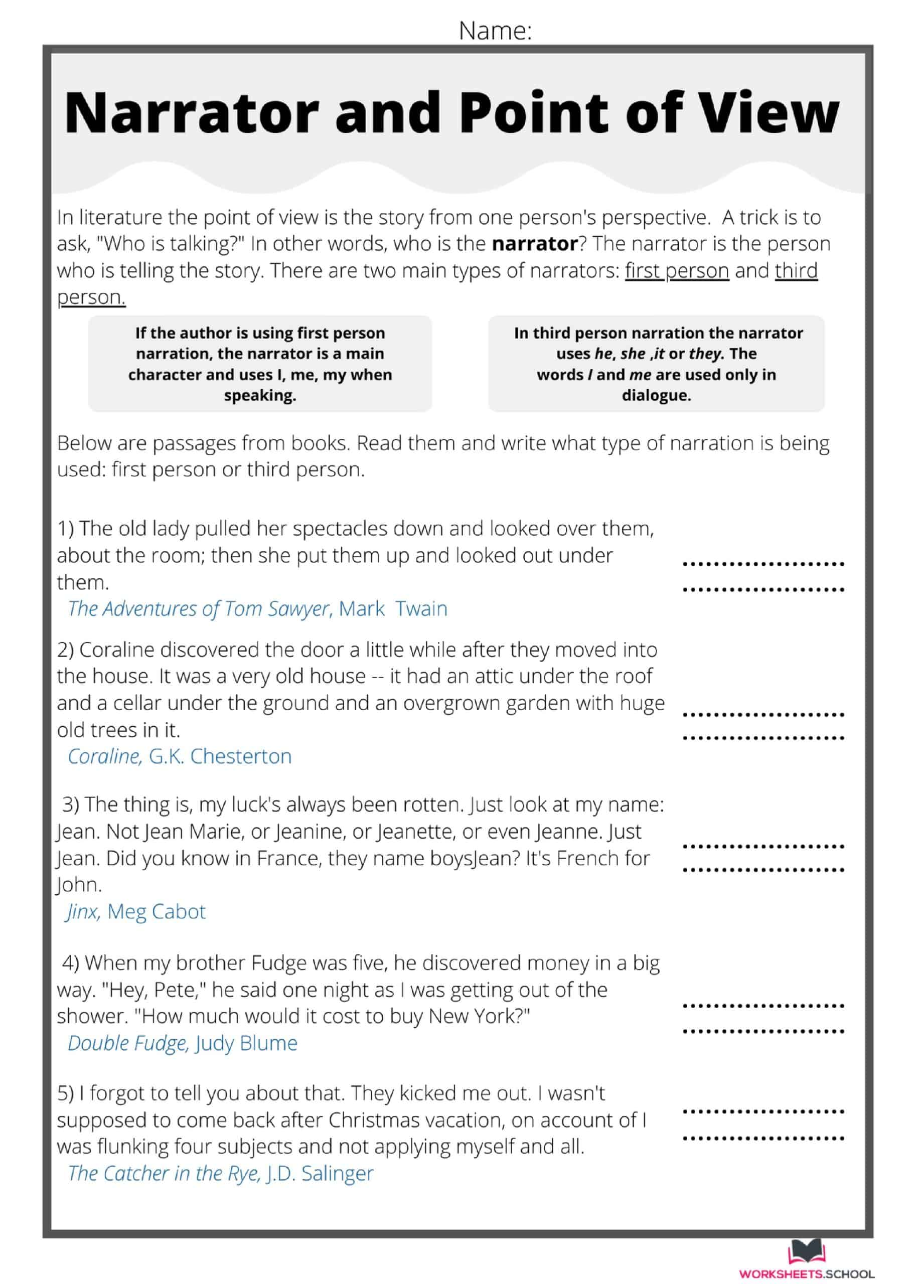 10 Best Point Of View Worksheets Free