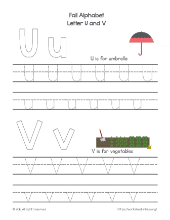 tracing letter u