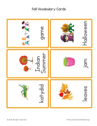 fall vocabulary flash cards