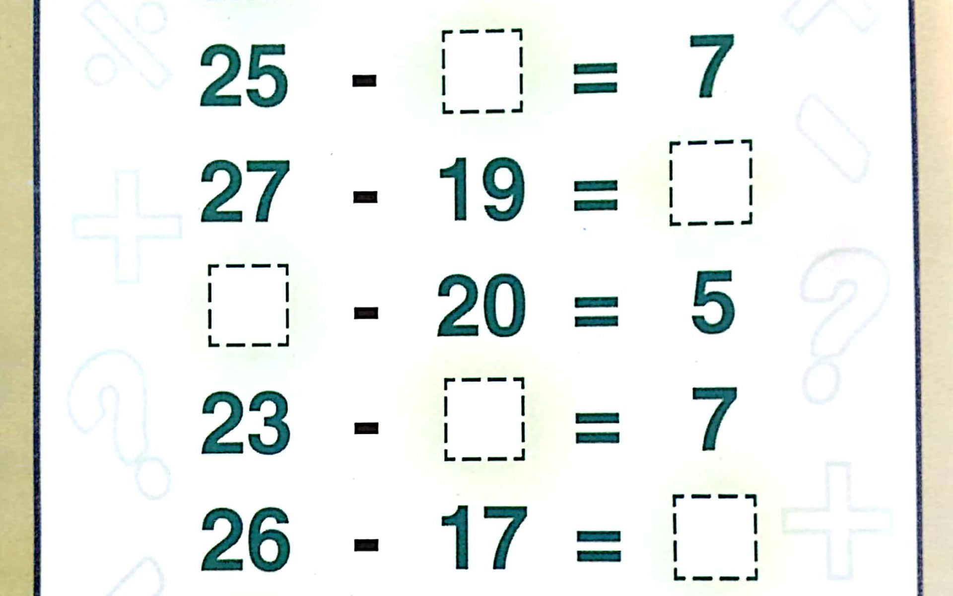 Download Free Printable Basic Subtraction Worksheets
