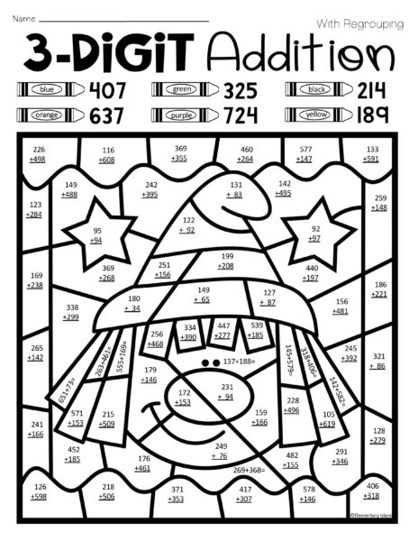 Triple Digit Addition Coloring Worksheets