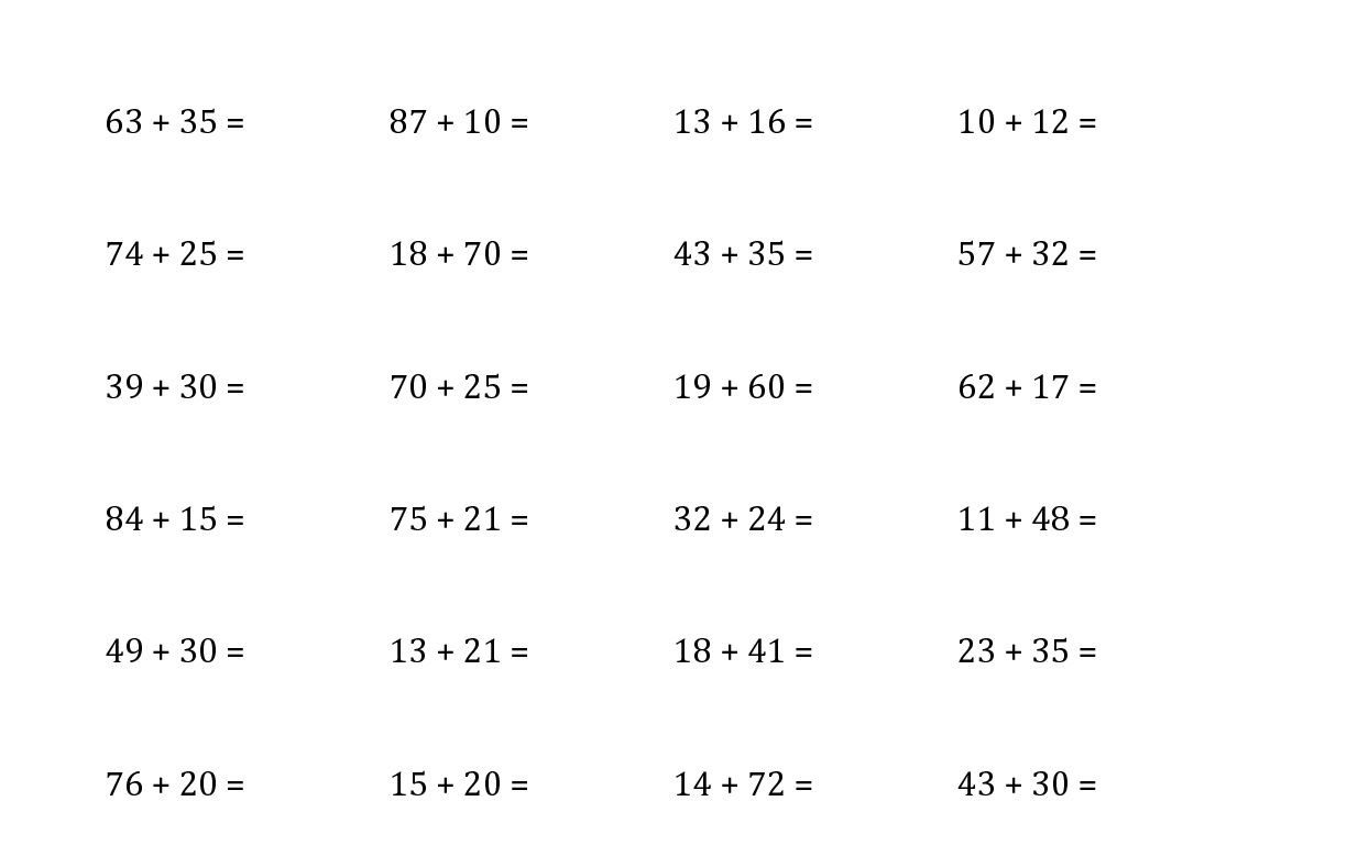 2 Digit Addition Horizontal Worksheets