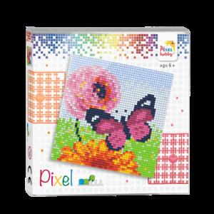 44011 pixel set vlinder en bloem
