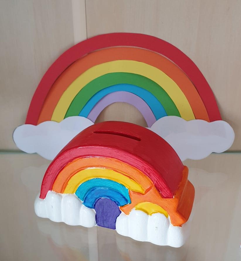 regenboog spaarpot uit keramiek