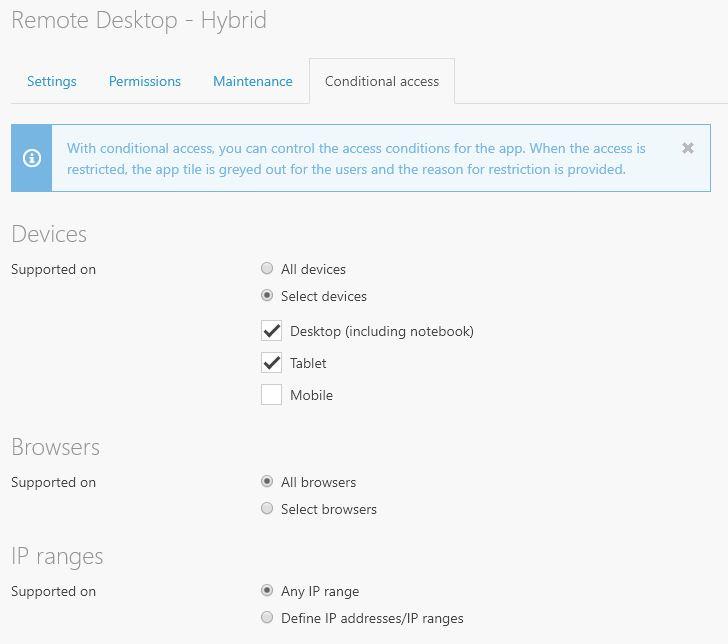 Conditional Access Remote Desktop Workspace 365